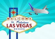 Las vegas and airplane Stock Illustration