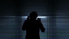 Wiretapping silhouette wide Stock Footage