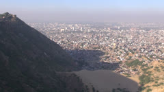 morning smog and view to Jaipur red city, India - stock footage