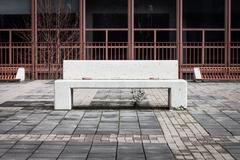Concrete bench with nobody around Stock Photos