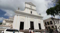 Facade of Cathedral of San Juan Bautista in Old San Juan, Puerto Rico Stock Footage