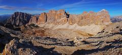 Panoramic view of dolomiti mountains - group tofana di tores - italy Stock Photos