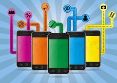 cellular phone multimedia - stock illustration
