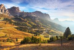 Beautiful summer landscape in the mountains. sunrise - italy alp dolomites Stock Photos