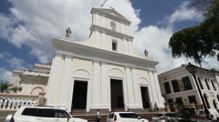 Facade of Cathedral of San Juan Bautista in Old San Juan, Puerto Rico Stock Footage