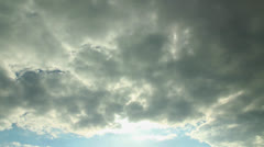 time lapse dramatic clouds and blue sky with sun - stock footage