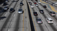 Morning Commuters Home Work Traffic Jam on Freeway, Downtown Los Angeles Highway - stock footage