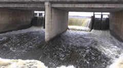 Spring water overflow in lake dam Stock Footage