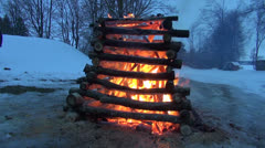 Winter end celebration fire Stock Footage