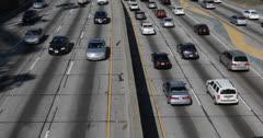 Ultra HD 4K Traffic Jam on Multiple Lane,  Downtown Los Angeles, LA, California - stock footage