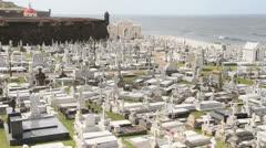 San Juan Cemetery and San Juan Bay, Puerto Rico Stock Footage