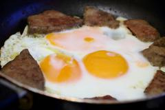 Stock Photo of fried eggs and meat for breakfast