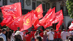 Communists with flags Stock Footage