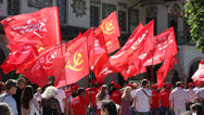 Stock Video Footage of Communists with flags