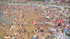 Crowded beach - stock footage