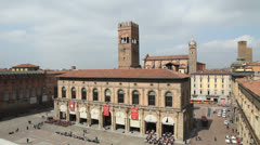Piazza Maggiore and Asinelli tower, Bologna Stock Footage