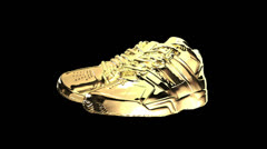 Gold shiny athletic sneakers - stock footage