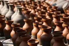 traditional pottery craftsmanship - stock photo