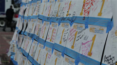 Signed notes to the marathon bombing victims Stock Footage