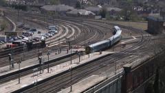 Train pulling into Shrewsbury Station Stock Footage