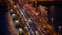 traffic on the bridge during rush hour - stock footage