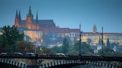 Tram passes over the bridge in Prague Stock Footage