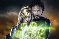 lovers, couple of super heroes of the future, green shield over cloudscape - stock illustration