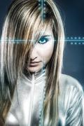 Stock Illustration of communications concept, young blonde with silver latex jumpsuit blue signs