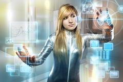 communications concept, beautiful blonde with silver latex jumpsuit with digi - stock photo