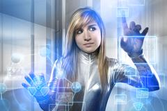 beautiful blonde with silver latex jumpsuit with digital tablet - stock illustration