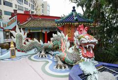 colorful dragon sculpture in repulse bay temple, hong kong - stock photo