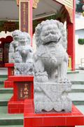Stone lion statue in repulse bay temple, hong kong Stock Photos