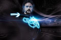 future man, science fiction image, warrior with neon shield - stock illustration