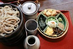 japanese style cold soba noodle toppings on a tray - stock photo