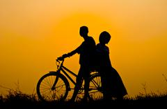 happy with bicycle - stock photo