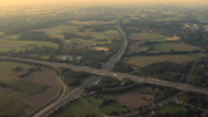 Stock Video Footage of German Autobahn from air. Zoom in.