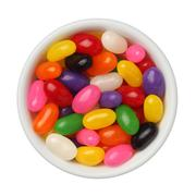 jellybeans in a bowl isolated on white background, close up - stock photo