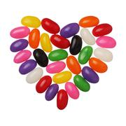 jellybeans heart isolated on white background, close up - stock photo