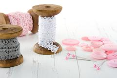 Sewing tools with buttons and lace Stock Photos
