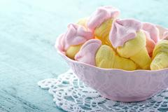 sugary pink marshmallows in a bowl - stock photo