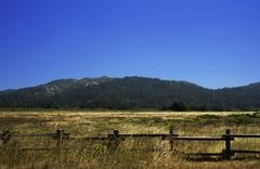 california field and mountain - stock photo