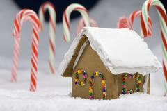 christmas gingerbread house closeup - stock photo