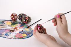 Easter hand painting ukrainian easter eggs Stock Photos