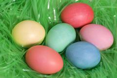 Easter multi colored eggs Stock Photos