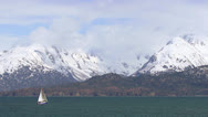 Sloop under Sail on Kachemak Bay with Mountains Stock Footage
