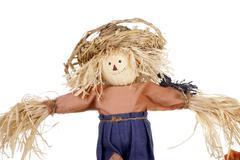 Halloween scarecrow with straw hat Stock Photos