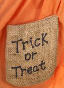 halloween trick or treat burlap - stock photo