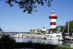 hilton head harbour town lighthouse - stock photo