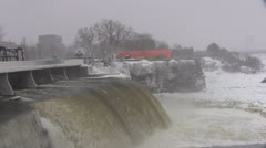 Rideau Falls in Winter Stock Footage