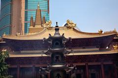 Large incense burner jing an temple shanghai china Stock Photos